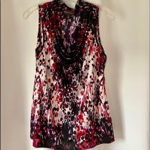 Red and Black sleeveless blouse